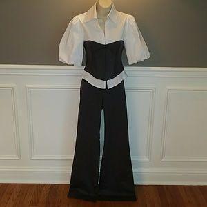 Bebe Gray Corset Top & Pants Set Size 2